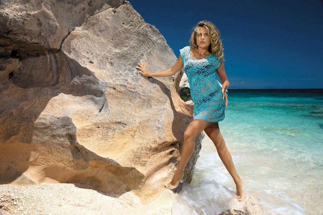Plážové šaty D-12 mašle - Etna Barva: žlutá, Velikost: 38