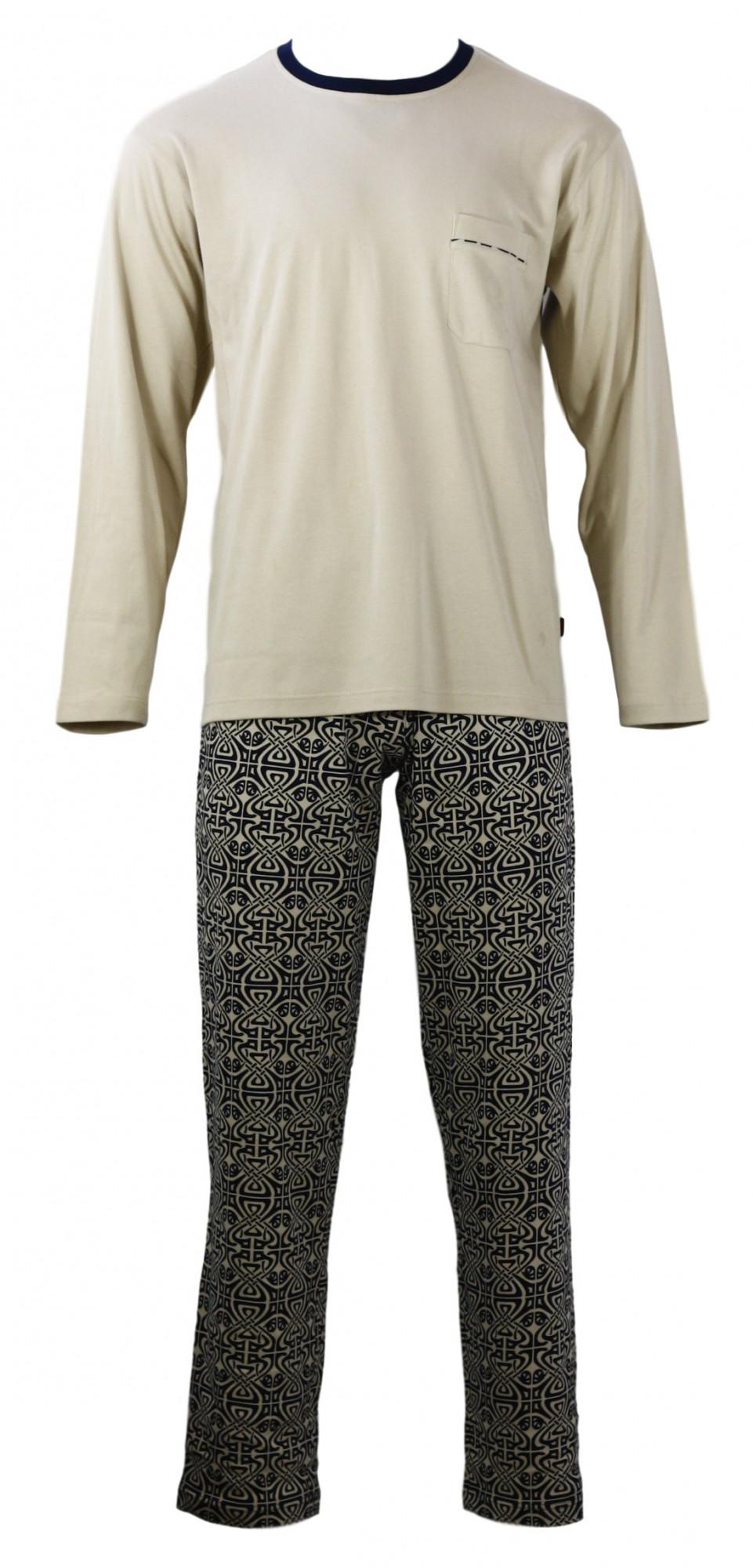 Pánské pyžamo s dlouhým rukávem TASIM - Favab Barva: béžová, Velikost: M