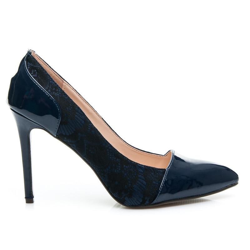 Luxusní lodičky 24431 - Fashion Boty Barva: temně modrá, Velikost: 40