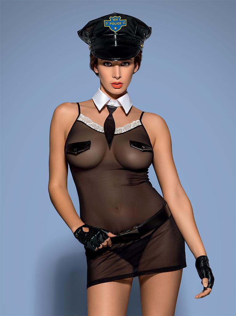Sexy kostým Police chemise - Obsessive Barva: černá, Velikost: L/XL