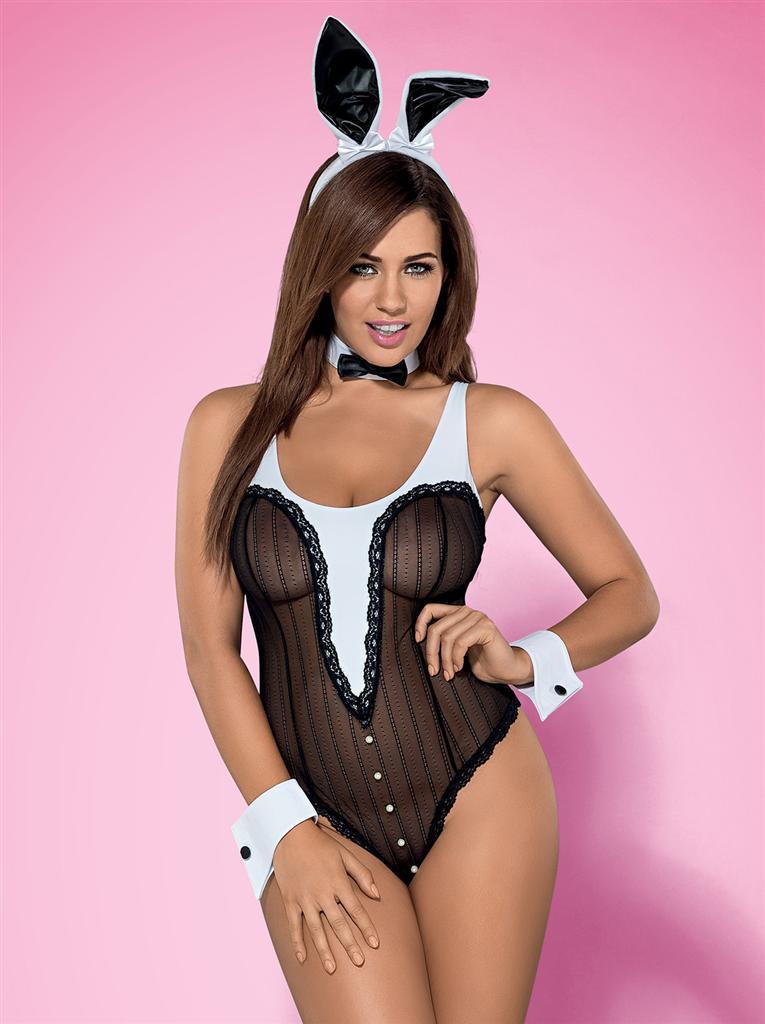 Sexy kostým Bunny teddy XXL - Obsessive Barva: černá, Velikost: XXL