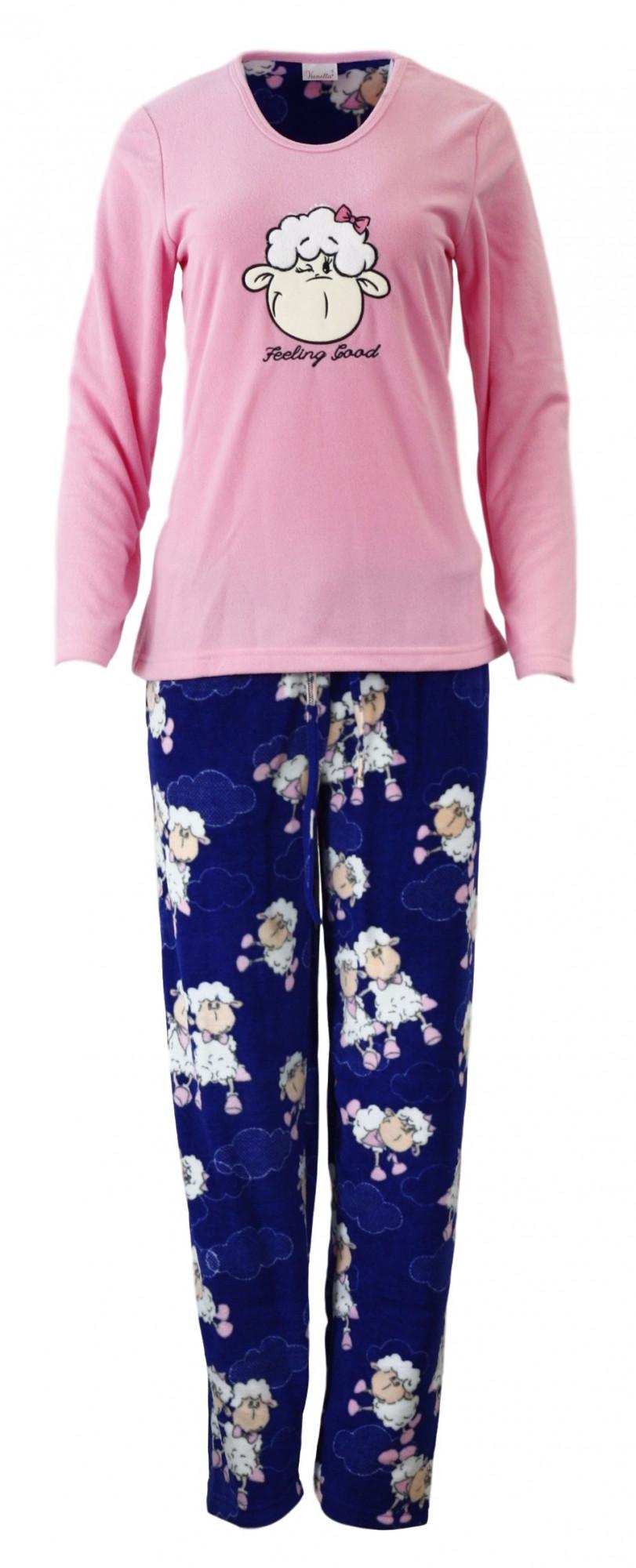 Dámské pyžamo 3214 - Vienetta Barva: růžová - modrá, Velikost: M