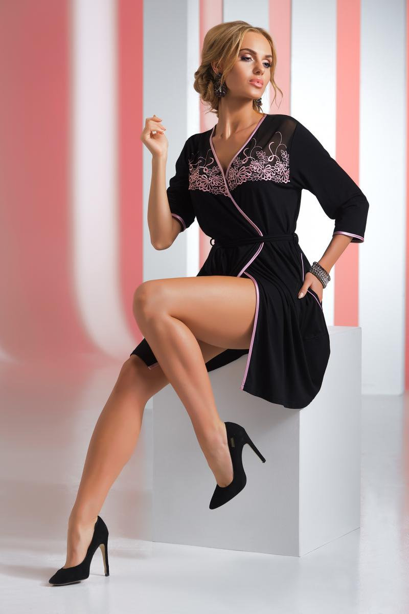 Dámský župan Livia - Donna Barva: černá, Velikost: XXXL