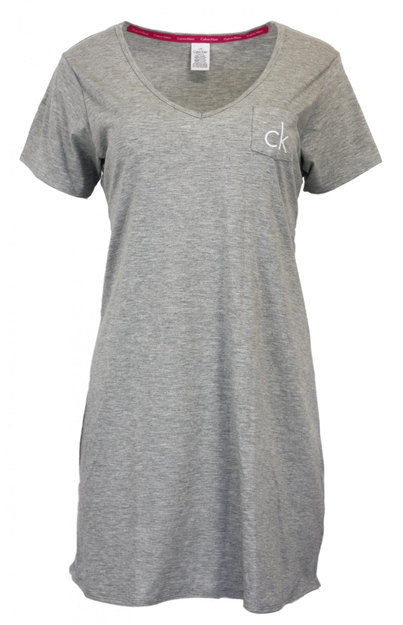 Dámská noční košile QS5469E - Calvin Klein Barva: světle šedá, Velikost: L