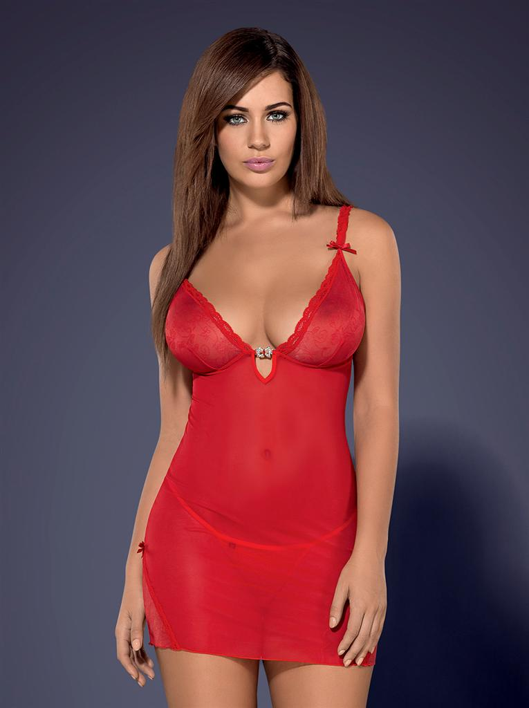 Košilka Romansia chemise XXL - Obsessive Barva: červená, Velikost: XXL