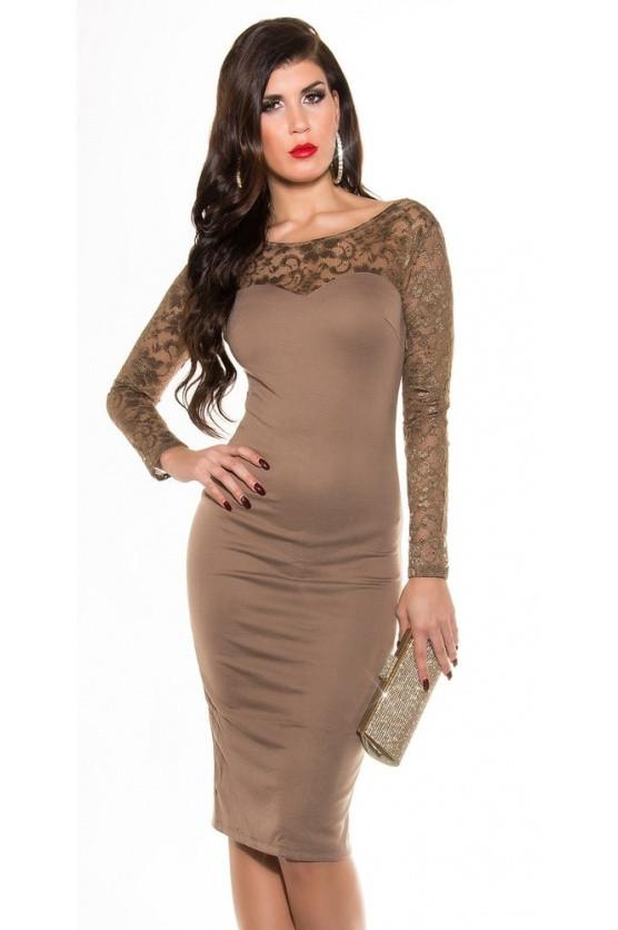 Večerní dámské šaty s krajkou Koucla IN-SAT 1061 Barva: tm.modrá, Velikost: 38
