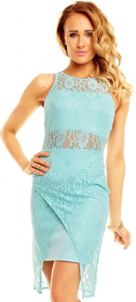 Dámské krajkové společenské šaty Graffith 3501 Barva: mentolová, Velikost: 36