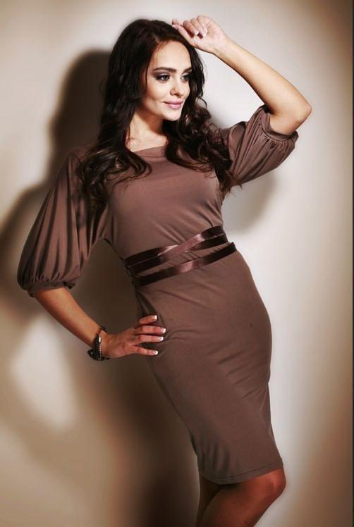 Dámské šaty M003 - Figl Barva: mocca, Velikost: XL