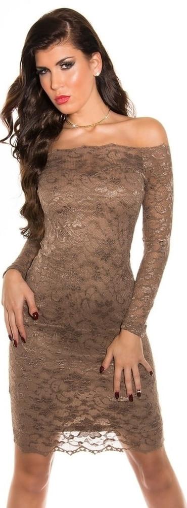 Večerní dámské šaty s krajkou Koucla IN-SAT 1035 CA Barva: hnědá, Velikost: L