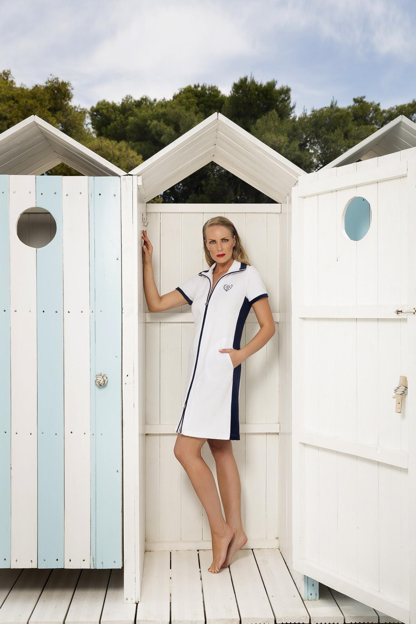 Dámské plážové šaty 6330- Vamp Barva: bílo-růžová, Velikost: M