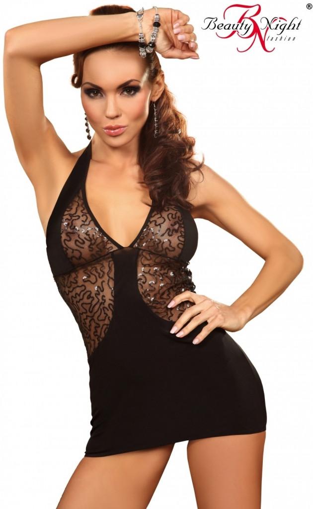 Noční košilka Beauty Night Fashion Calipso Barva: černá, Velikost: L/XL
