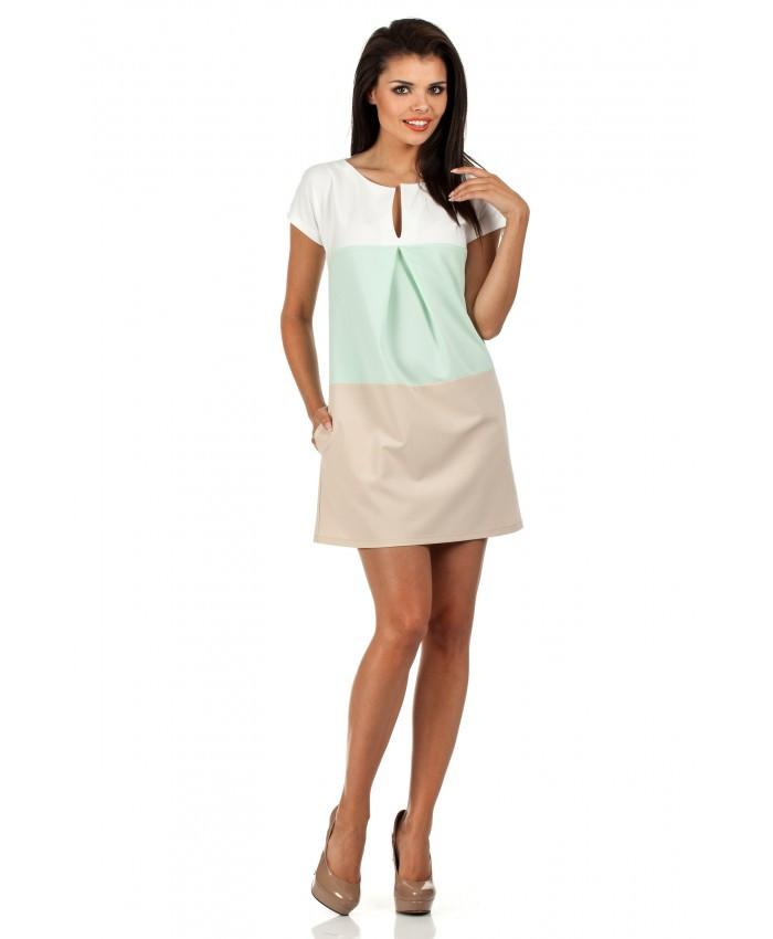 Dámské šaty M 105 - Moe Barva: zelená-krémová, Velikost: M
