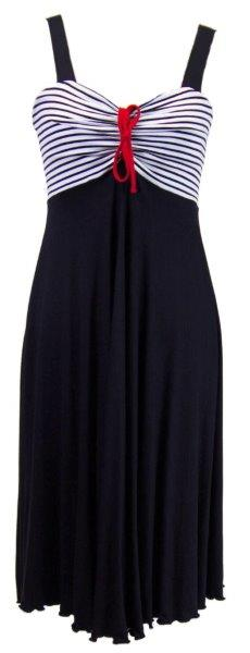 Dámské šaty Jelena 0043 - Sailor Tom Barva: tmavě modrá s bílou, Velikost: M