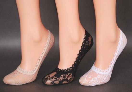 Ponožky do balerín krajka 8041 - Rebeka Barva: šedá, Velikost: 35-40