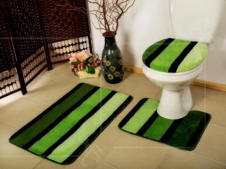 Koupelnová předložka dvoudílná sada 50x80cm+50x40cm Borneo Barva: zeleno-černá, Velikost: uni