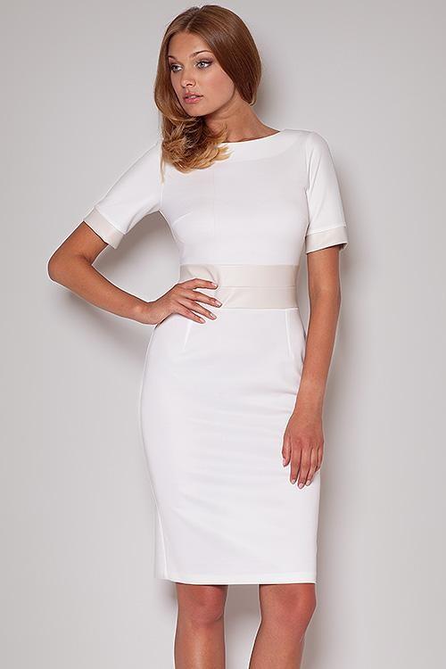 Dámské šaty Figl 204 Barva: ecru, Velikost: 38
