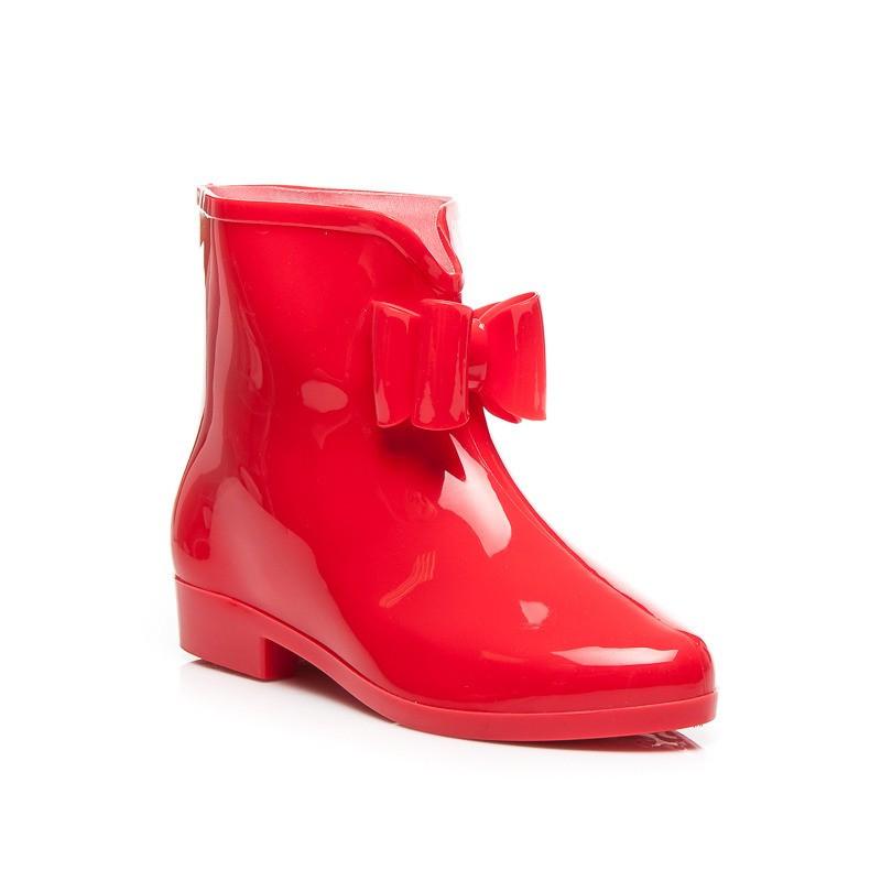 Fantastické červené dámské gumáky - Fashion Boty Barva: červená, Velikost: 38
