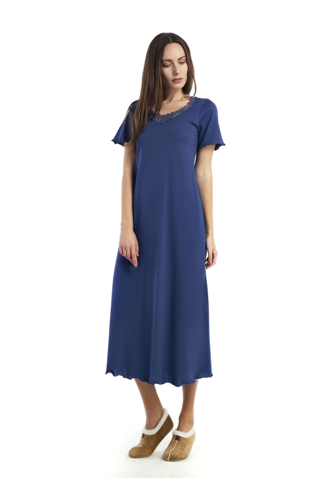 Dámská noční košile Bianca 00-10-2608 - Vamp Barva: modrá, Velikost: XL