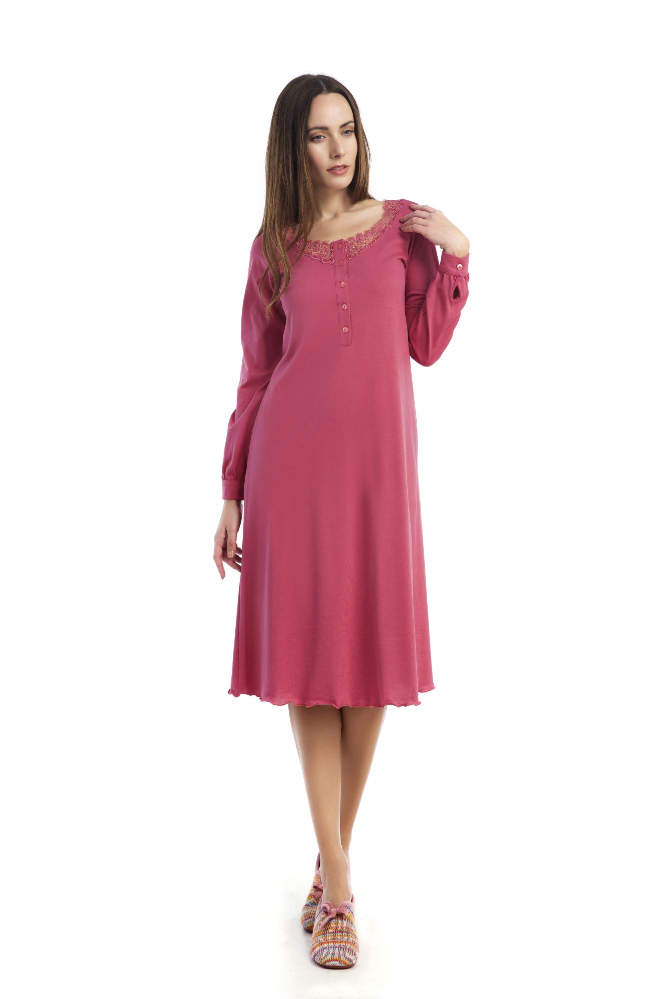 Dámská noční košile Bianca 00-10-2610 - Vamp Barva: červená, Velikost: L