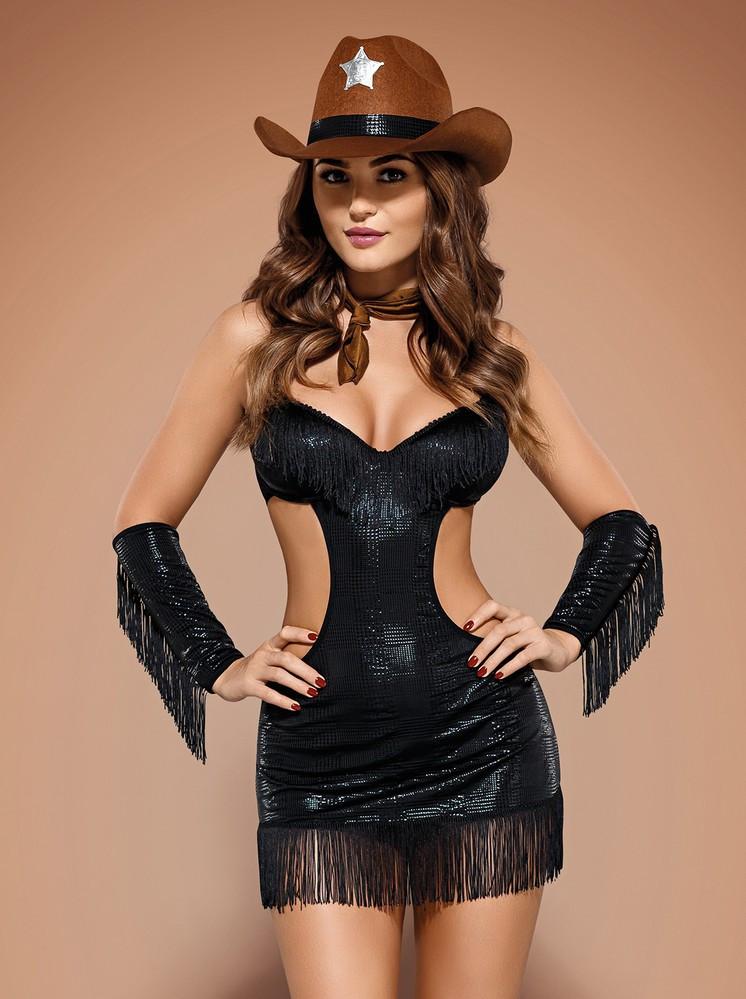 Sexy kostým Sheriffia - Obsessive Barva: černá, Velikost: L/XL