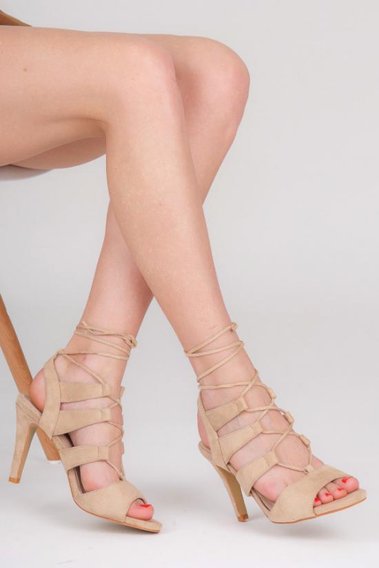 Béžové sandály s vázáním M236P - Fashion Boty Barva: béžová, Velikost: 40
