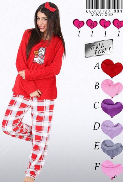 Dámské pyžamo 2480 Vienetta Barva: červená, Velikost: XL