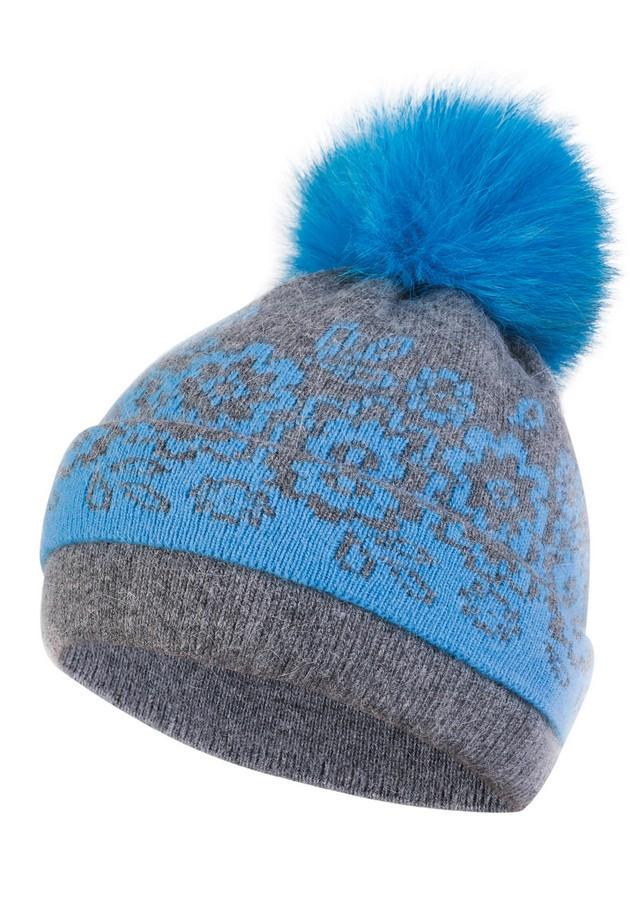 Dámská čepice s bambulí KA-LES modrá Barva: modrá, Velikost: uni