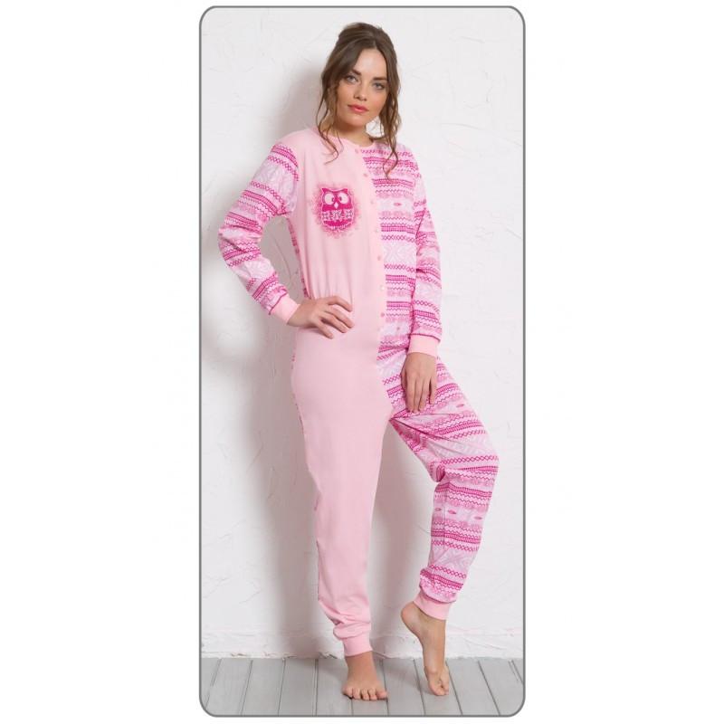 Dámské pyžamo overal Sova 0284 - Vienetta Barva: modrá, Velikost: L