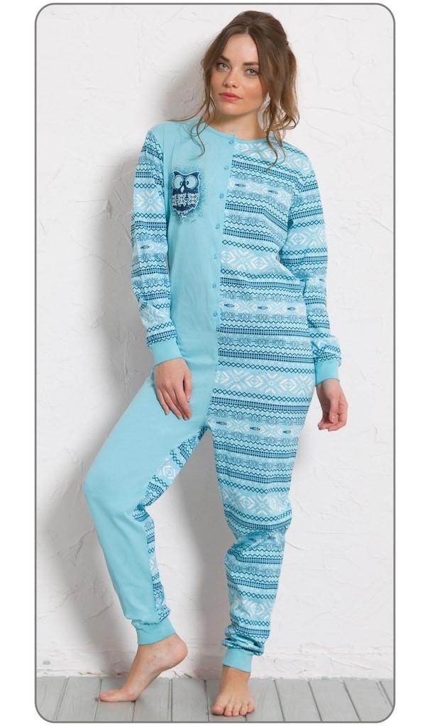 Dámské pyžamo overal Sova 0284 - Vienetta Barva: modrá, Velikost: M