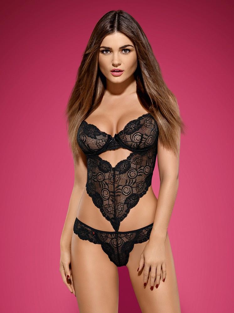 Body Alluria teddy - Obsessive Barva: černá, Velikost: L/XL
