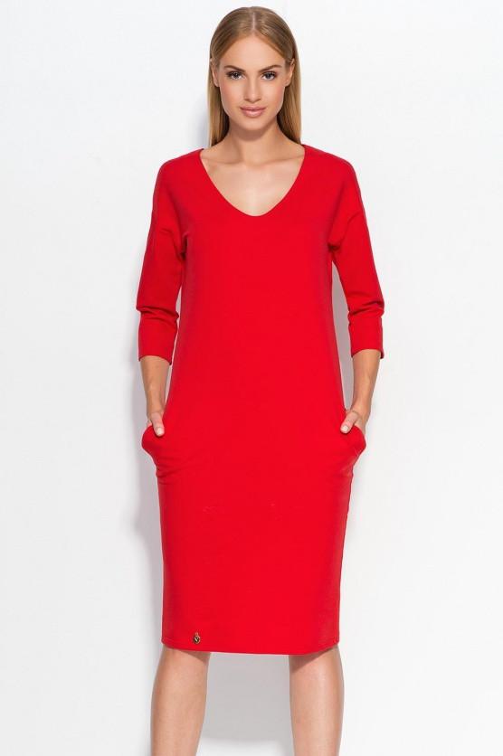 Dámské šaty M318 - Makadamia Barva: červená, Velikost: 46