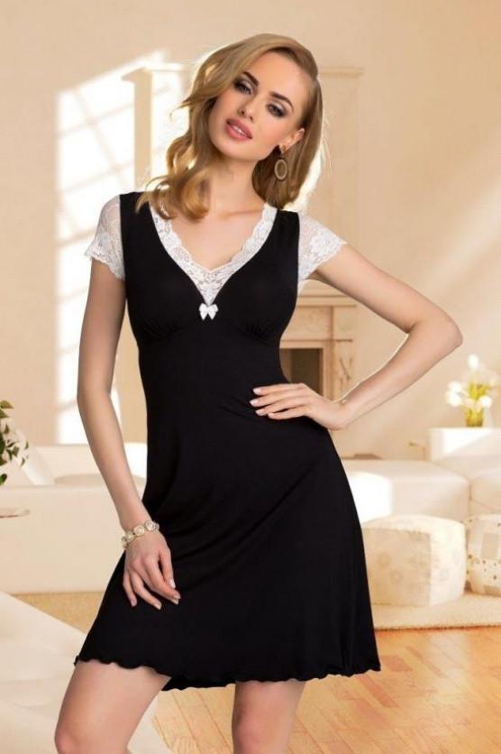 Noční košilka Leonia - Eldar Barva: černá s bílou, Velikost: L