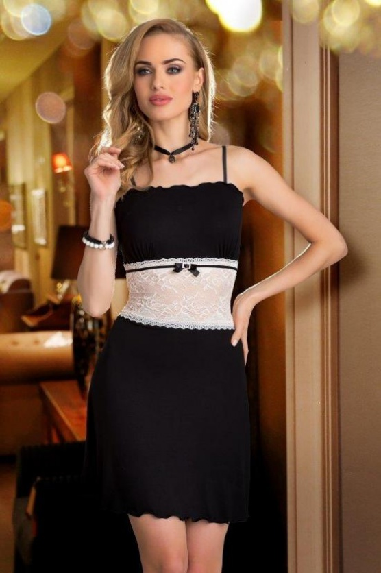 Dámská noční košilka Ligia - Eldar Barva: černá, Velikost: L - 42