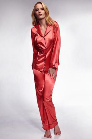Dámské pyžamo satén Hayley - Miran Barva: korálová, Velikost: M