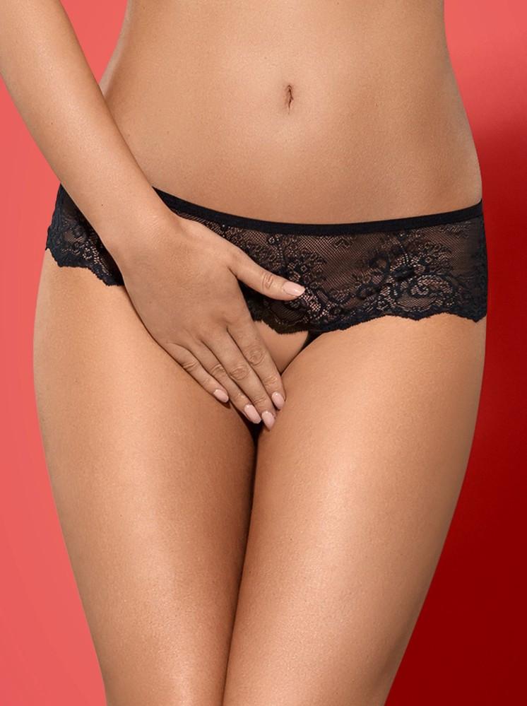 Kalhotky Merossa panties otevřené - Obsessive Barva: černá, Velikost: L/XL