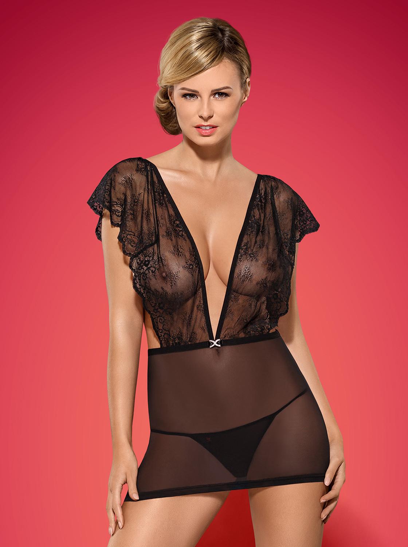 Košilka Merossa chemise - Obsessive Barva: černá, Velikost: S/M