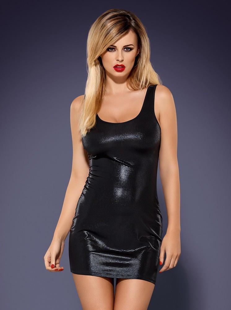Šaty Obsydian wetlook - Obsessive Barva: černá, Velikost: S/M