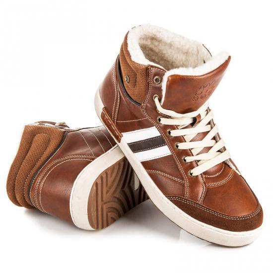 Pánské zimní tenisky 16D01BR - Fashion boty Barva: hnědá, Velikost: 42