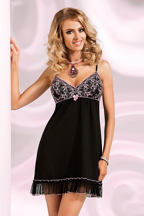 Dámská noční košilka Ines II - Donna Barva: černá, Velikost: L