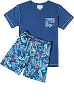 Pánské pyžamo 550007 - Jockey Barva: modrá - květy, Velikost: M