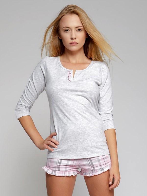 Dámské krátké pyžamo Sweet Dreams - Sensis Barva: šedo-růžová, Velikost: L