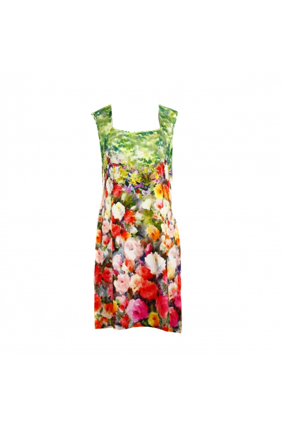 Šaty Temper Genka -Favab Barva: zelená+květy, Velikost: L