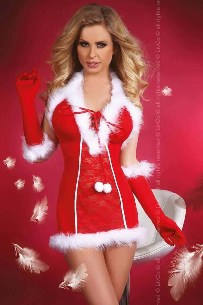 Vánoční kostým Snow Queen - LivCo Corsetti Barva: červená, Velikost: S/M