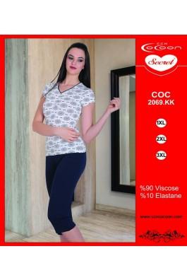 Dámské pyžamo 2069 KK Cocoon Secret Barva: bílá s květinovým vzorem/ tmavě modrá, Velikost: XXL
