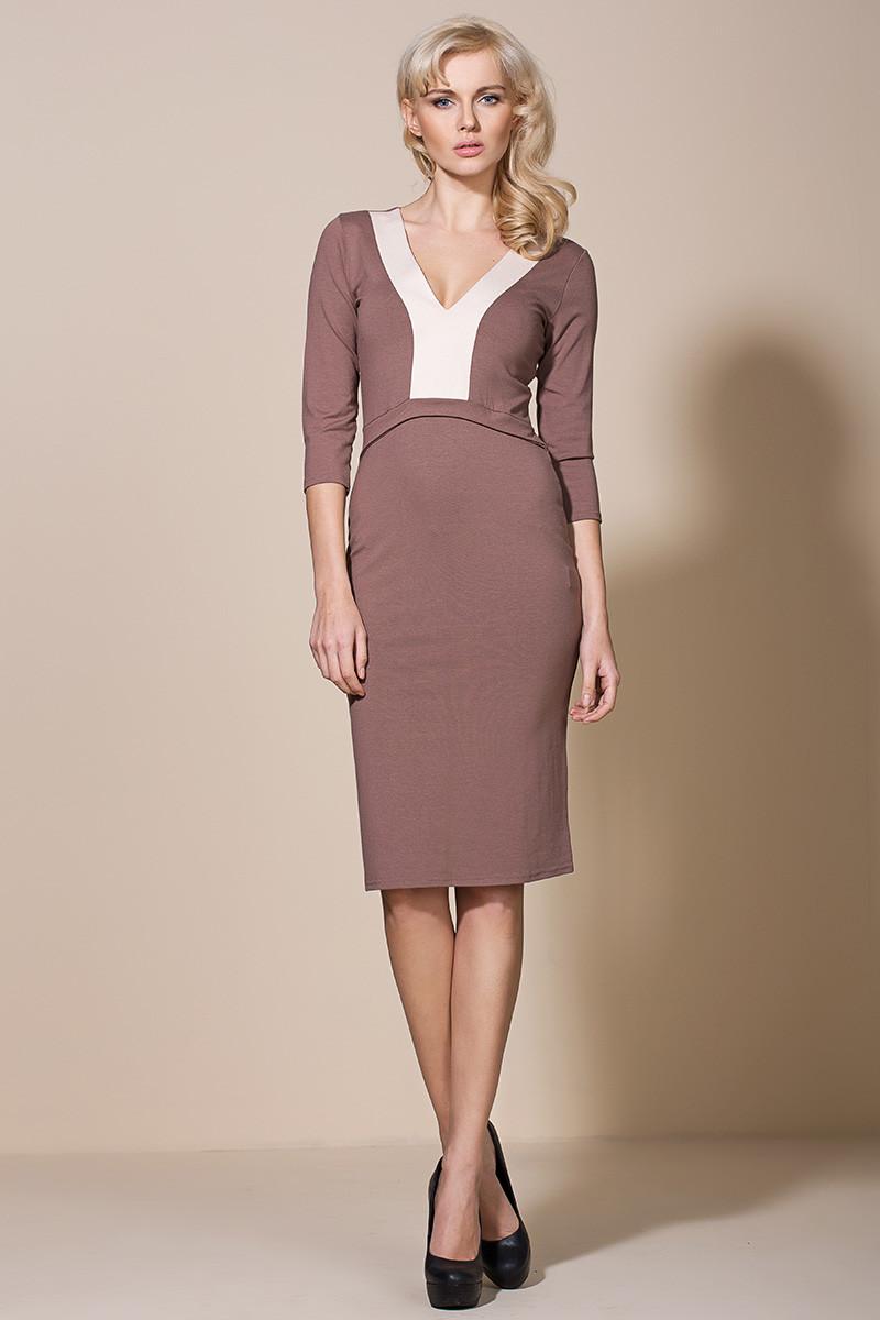 Společenské šaty model AL06 - Alore Barva: mocca, Velikost: 44