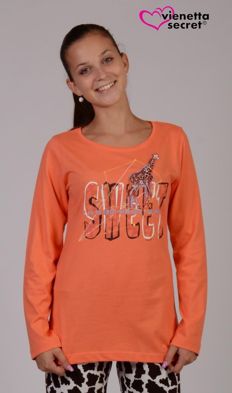 Dámské pyžamo dlouhé Žirafa Sweet 4363 - Vienetta Barva: modro-růžová, Velikost: XL