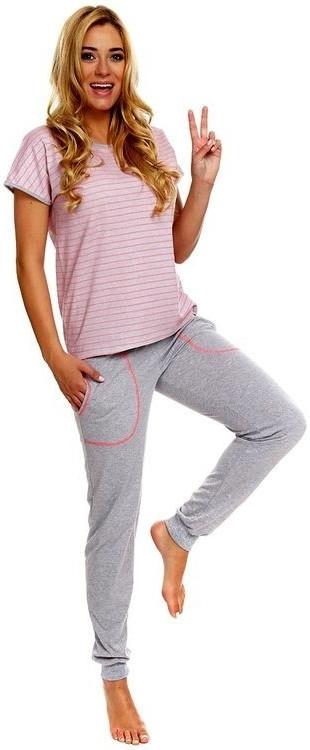 Dámské pyžamo Miranda - Italian Fashion Barva: šedá s růžovou, Velikost: L