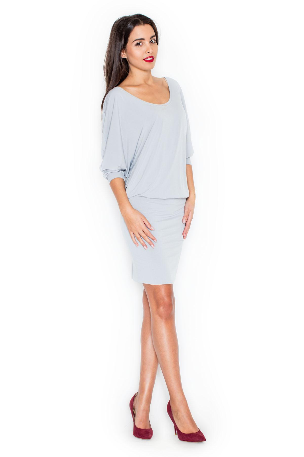 Denní šaty model K262 Katrus Barva: šedá, Velikost: L/XL