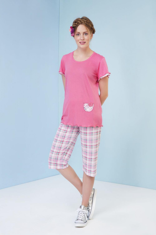 Dámské pyžamo Rhea 3105 - Vamp Barva: růžová kostky, Velikost: M