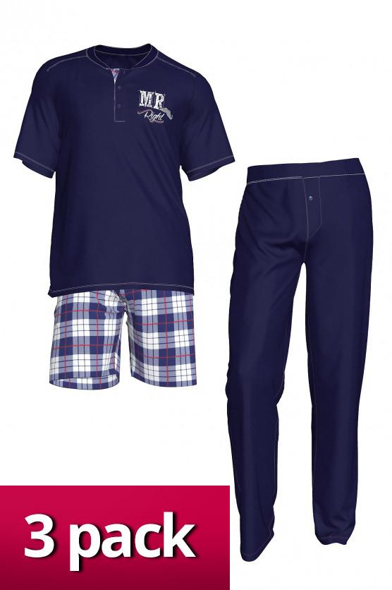 Pánské pyžamo 3pack - 3438 - Vamp Barva: modrá kostka, Velikost: M